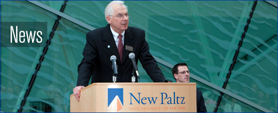 photo of President Poskanzer being interviewed at a groundbreaking ceremony