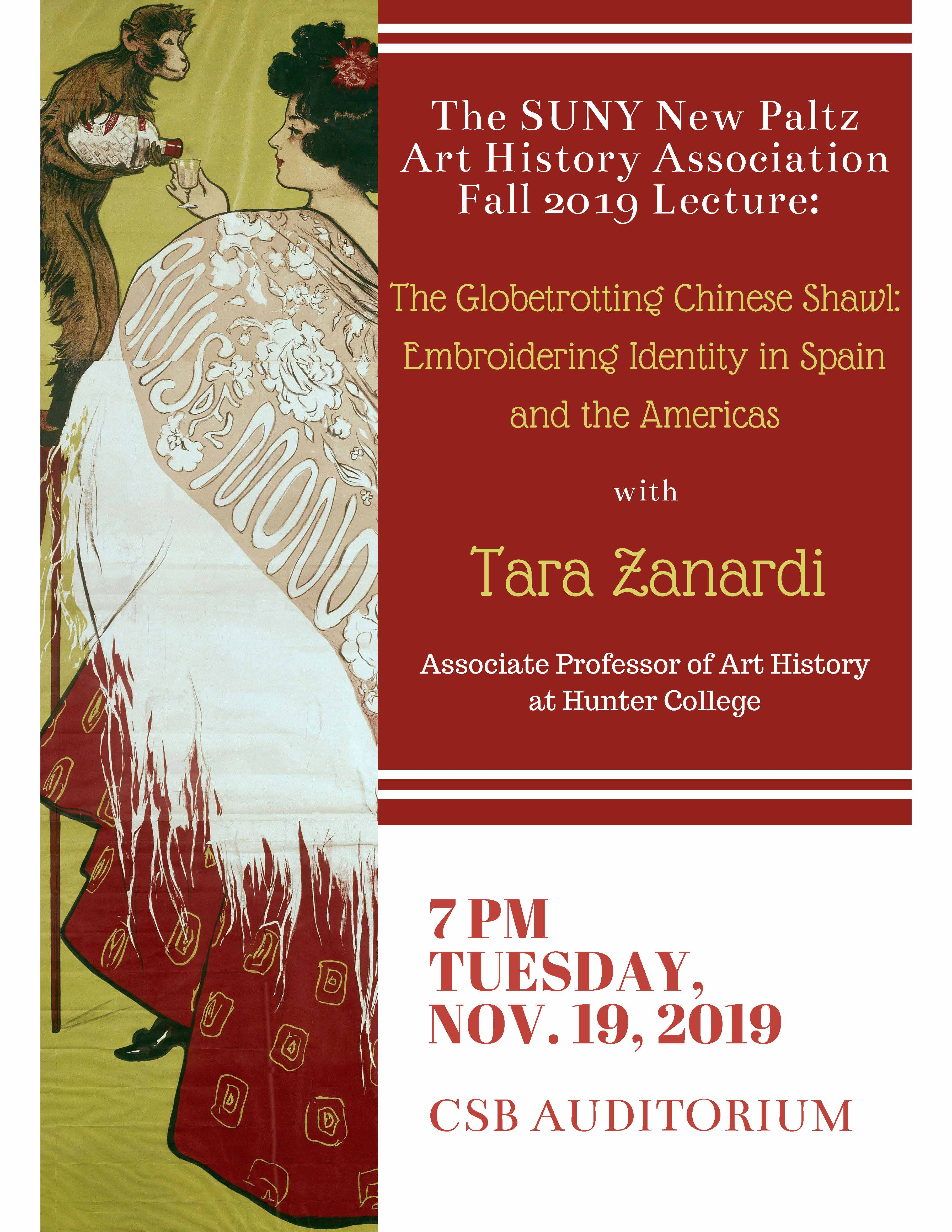 Poster image for Art History Association Speaker Tara Zanardi Chinese Export Shawls adoption in dress in Spain and the Americas