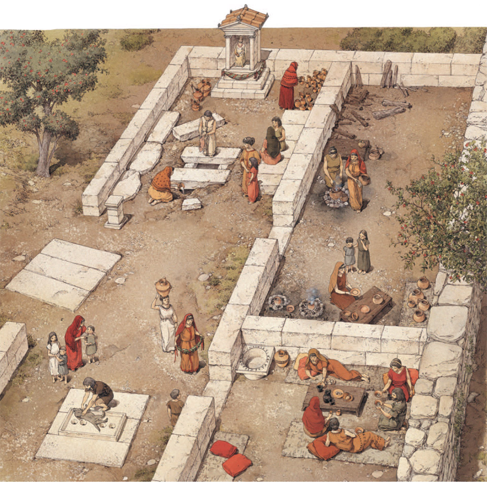 Vaste: Messapian sanctuary at Piazza Dante – Reconstruction, 4th century B.C.E. (Created by F. D'Andria/InkLink-Firenze)