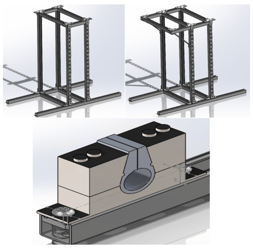 Figure 1: Frame and Clamp Designs via SOLIDWORKS