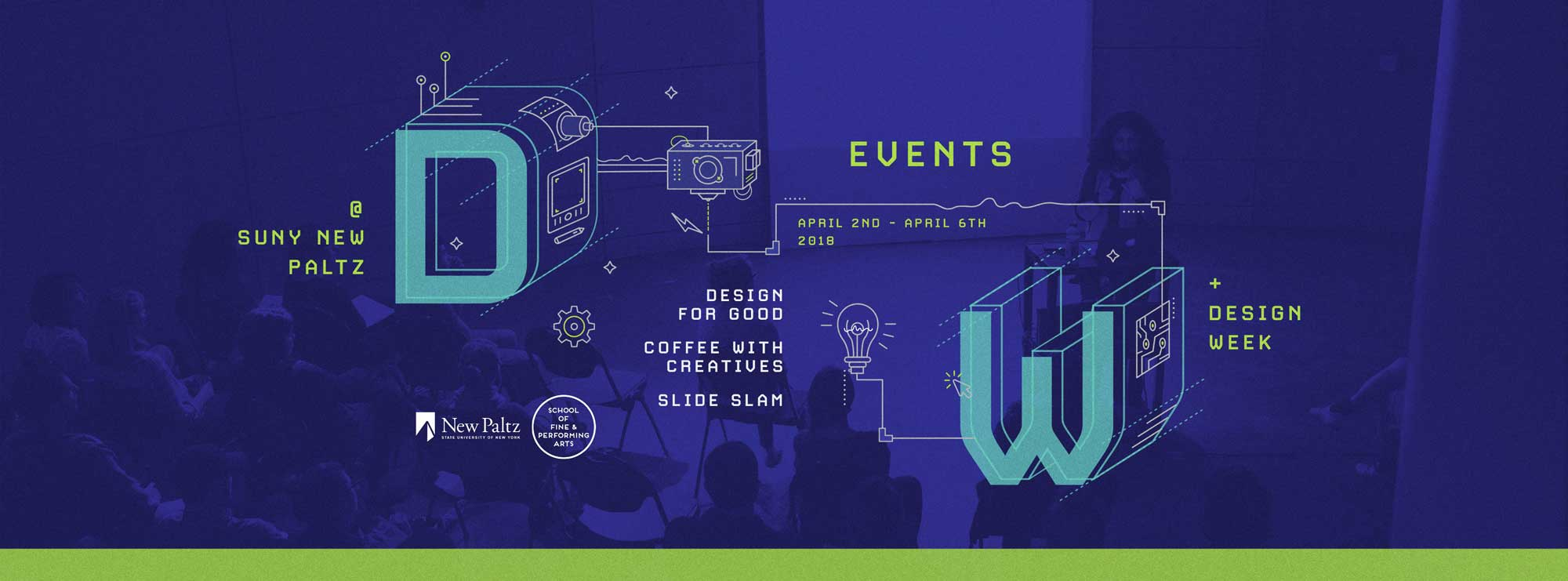illustrated banner promoting events for Design Week 2018