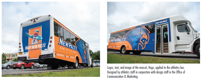 Logos, text, and image of the mascot, Hugo, applied to the athletics bus.