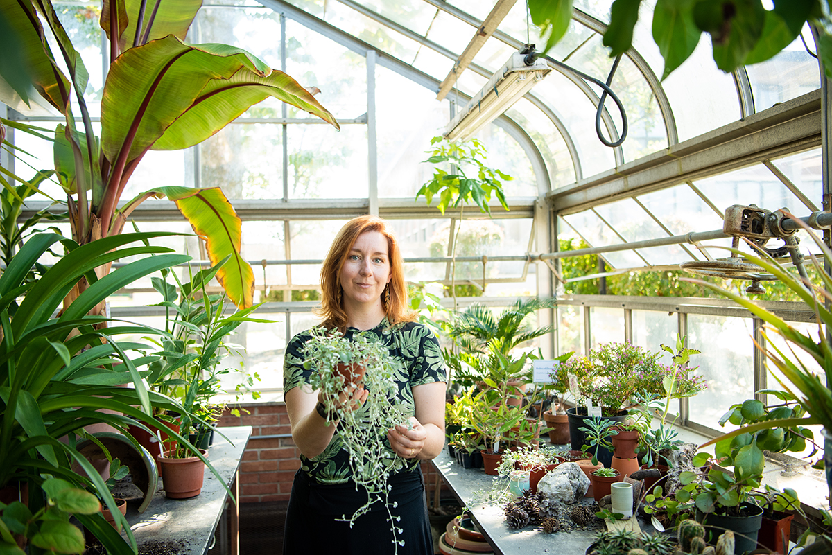 laura in the greenhouse
