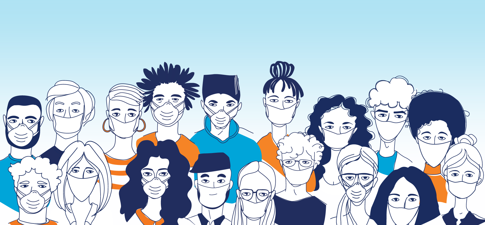 students in masks illustration