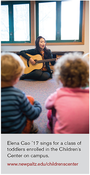 elena cao sings for a class of toddlers enrolled in the children's center on campus