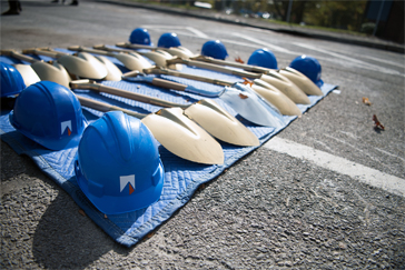 Hard hats and shovels at the Engineering Hub Ground Breaking ceremony