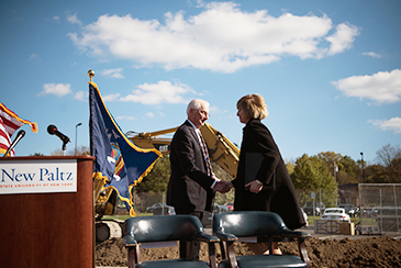 President Christian and Chancelor Johnson shaking hands at Ground Breaking ceremony