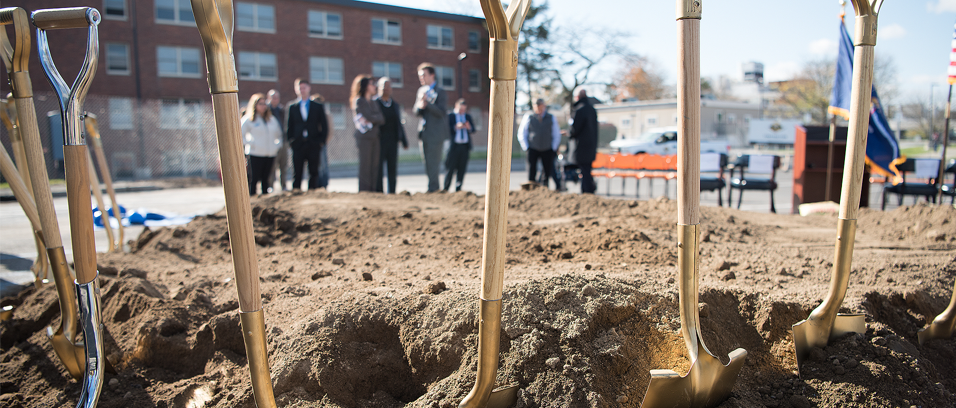 Shovels in the dirt at Engineering Hub Ground Breaking ceremony