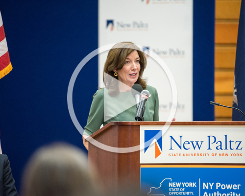Lieutenant Governor of New York Kathy Hochul speaking at the Solar Energy Ribbon Cutting Ceremony