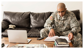member of the military studying