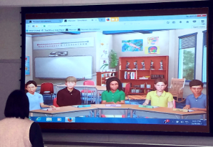 Example of Teachlive being used with avatars on the screen