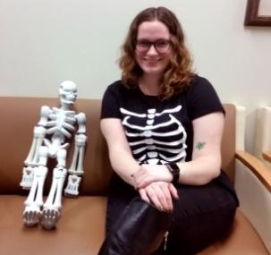 Student with a 3D printed Skeleton