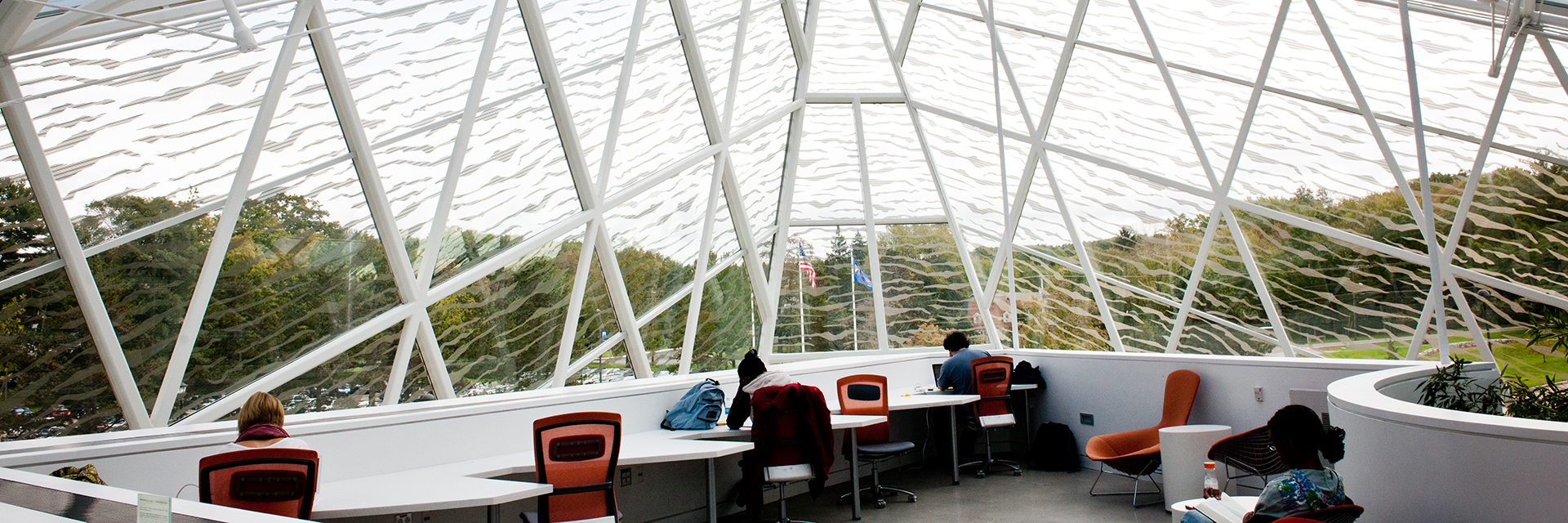 Students studying in atrium