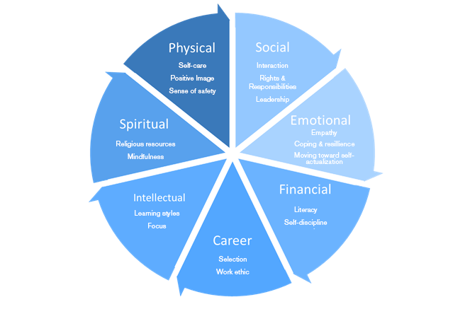 Physical - Self-care Positive Image Sense of safety. Social - Interaction Rights & Responsibilities Leadership. Emotional - Empathy Coping & resillience Moving toward self- actualization. Financial - Literacy Self-discipline. Career - Selection Work ethic. Intellectual - Learning styles Focus. Spiritual - Religious resources Mindfulness.